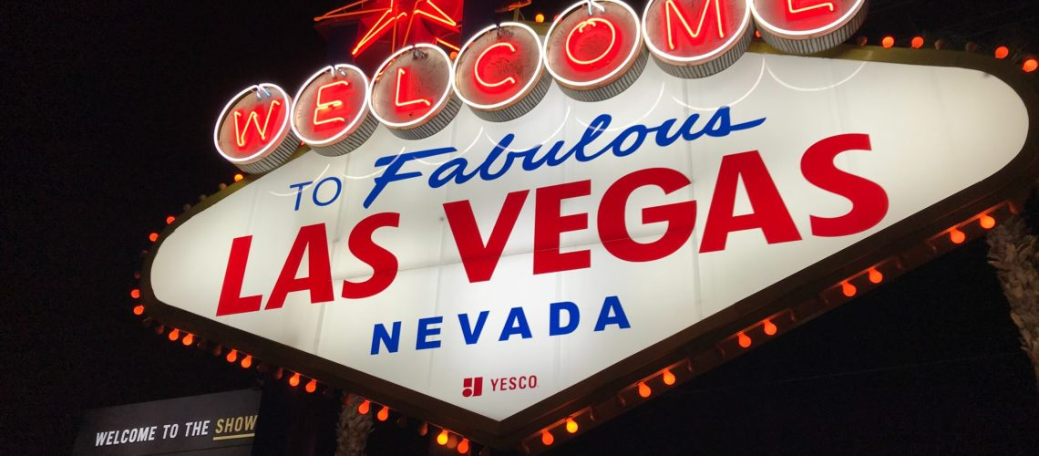 red and white lighted welcome to fabulous Las Vegas Nevada sign